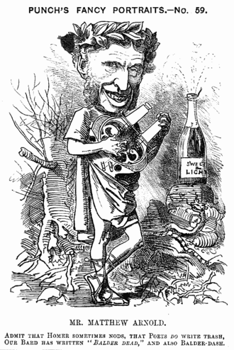 """1881 in poetry - Caricature from Punch, 1881: """"Admit that Homer sometimes nods, That poets do write trash, Our Bard has written """"Balder Dead,"""" And also Balder-dash"""""""