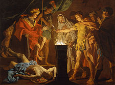 Matthias Stomer - Mucius Scaevola in the presence of Lars Porsenna - Google Art Project.jpg