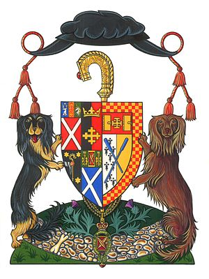 Moderator of the General Assembly of the Church of Scotland - Coat of Arms of Iain R. Torrance, former Moderator, illustrating the Geneva bonnet and the crozier of St. Fillan