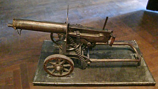 Maxim gun The first self-powered machine gun, invented by Sir Hiram Maxim in 1884