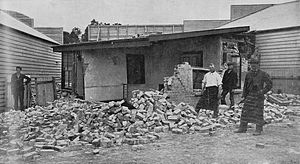 1901 Cheviot earthquake - McTaggart's butcher shop in Cheviot after the earthquake