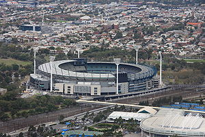 The Amazing Race Australia 1 - The first series of The Amazing Race Australia started in Melbourne at the Melbourne Cricket Ground with a Roadblock sending racers up and down one of the stadium's six light towers.