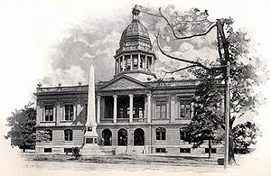 Mecklenburg Declaration of Independence - In 1898, this monument was erected in front of the Mecklenburg County Court House to honor the signers of the Mecklenburg Declaration. The building no longer exists, but the monument now stands behind another old court building.