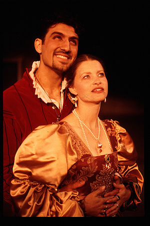 Bassanio (John Farmanesh-Bocca) and Portia (Ju...