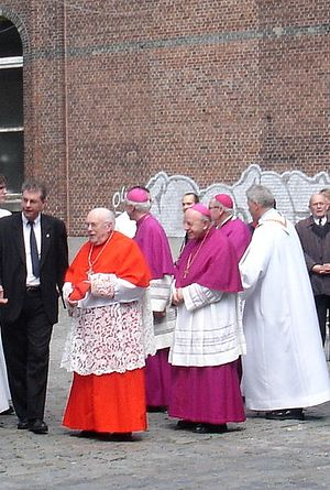 Rochet - Cardinal Godfried Danneels wearing scarlet with 3 bishops wearing purple. Their rochets are in white.