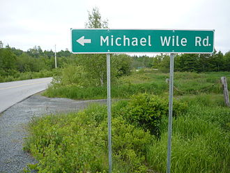 Waterloo, Nova Scotia - The Michael Wile Road is the new name for the former Veinot Road and reflects the original colonists Michael and Lucy Wile. St. Clair Veinot and his wife Sadie Wile Veinot owned and lived in the Michael Wile home place after Michael and Lucy passed on.
