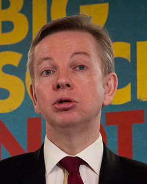 English: Michael Gove speaking at the Conserva...