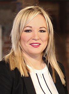 Michelle O'Neill (cropped from Martin McGuinness, Michelle O'Neill, Mary Lou McDonald and Gerry Adams).jpg