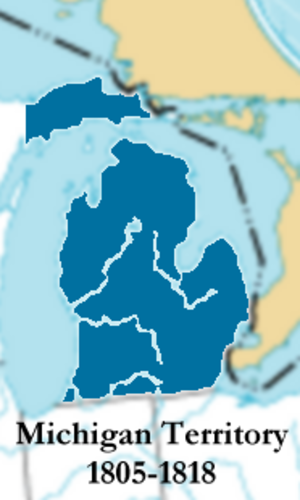Michigan Territory - From 1805–1818, the western border was a line through Lake Michigan.