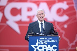Governor Pence speaks at the 2015 Conservative Political Action Conference (CPAC) in National Harbor, Maryland, on February 27, 2015. Mike Pence (16688758435).jpg