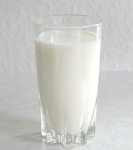 A glass of pasteurized cow's milk Milk glass.jpg