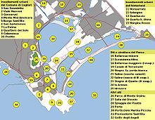 Image de la localisation sur un plan de la plage de poetto (28) et du