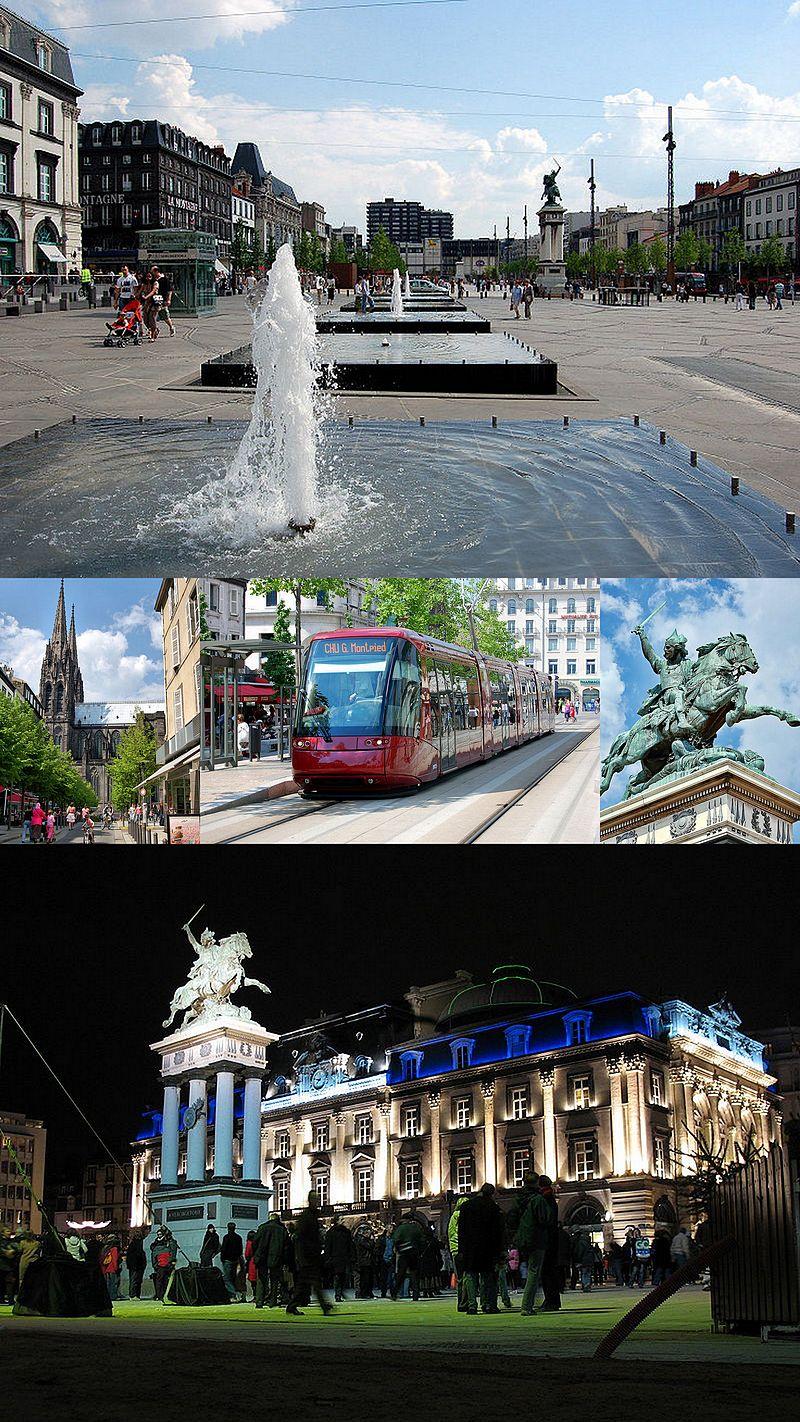 En haut: la place de Jaude en 2007.Au milieu: la cathédrale Notre-Dame-de-l'Assomption, le tramway et la statue de Vercingétorix en 2007.En bas: l'Opéra-Théâtre (époque opéra municipal en 2005).