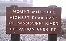 Mount Mitchell. Highest peak east of Mississippi River. Elevation 6684 ft.
