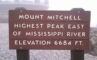 Mount Mitchell - Image: Mount Mitchell sign, North Carolina