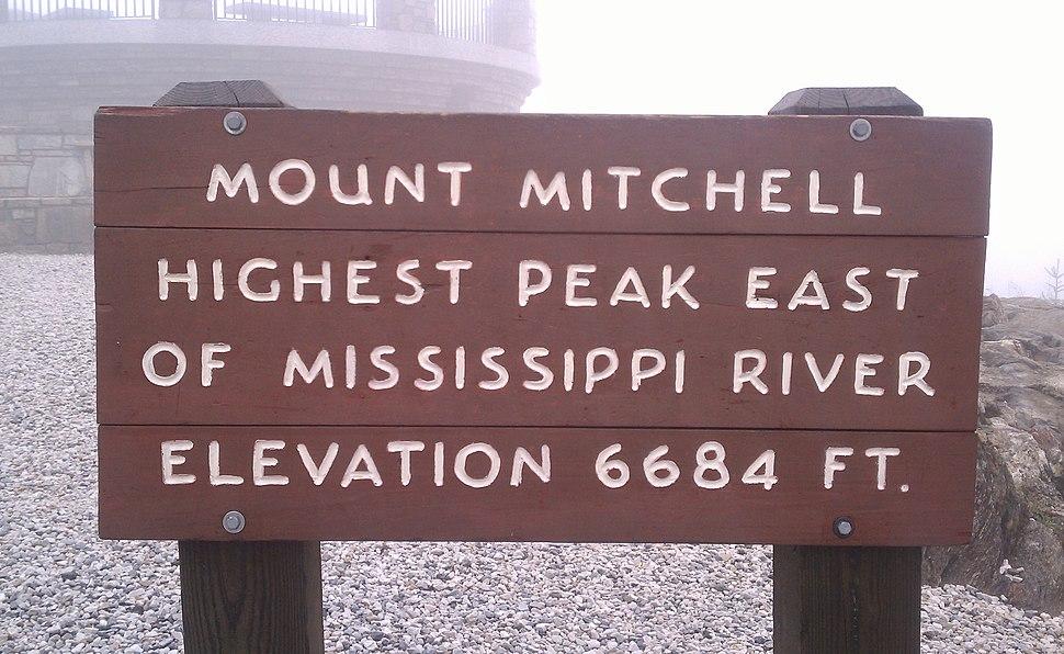Mount Mitchell sign, North Carolina