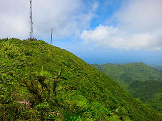 Mount Saint Catherine (Grenada) - The summit of Mount Saint Catherine as seen from the Mt. Horne eastern trail approach. Visitors are enjoying the view from the radio tower platform vista.
