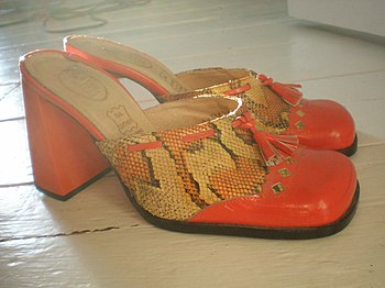 A pair of red mules (side)