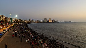 Arabian Sea - Marine Drive, Mumbai at evening
