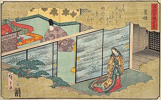 Liza Dalby - Heian era court life depicted in a 19th-century ukiyo-e illustration of The Tale of Genji by Hiroshige