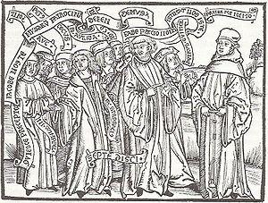Jakob Wimpfeling - Jakob Wimpfeling and his students debating with Thomas Murner, Defensio Germaniae Jacobi Wympfelingii, 1502