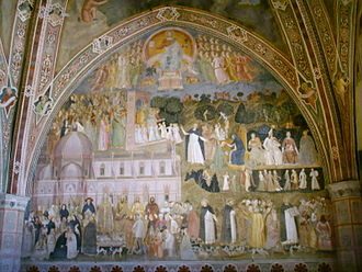 Churches Militant, Penitent, and Triumphant - The Church Militant and the Church Triumphant, fresco by Andrea da Firenze in Santa Maria Novella, c. 1365