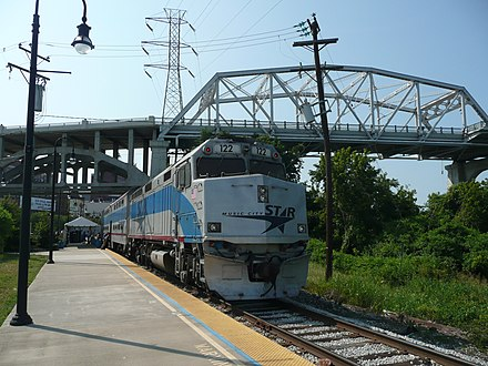 A Music City Star commuter train beneath the Shelby Street Bridge Music City Star.jpg