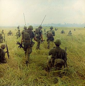 Operation Van Buren - 2/327th soldiers advancing through a field, 23 January