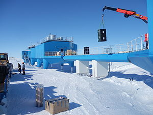 BARREL - A crane lowers two BARREL balloon payloads onto the platform at Halley Research Station in Antarctica