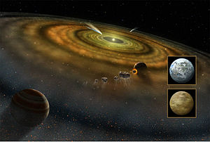 Nebular hypothesis - Various planet formation processes, including exocomets and other planetesimals, around Beta Pictoris, a very young type A V star (NASA artist's conception).