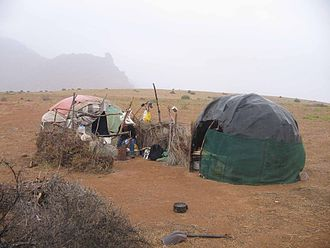 Nama people - Nama huts.