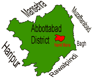 Location of Namli Mera  (highlighted in red) within Abbottabad district, the names of the neighbouring districts to Abbottabad are also shown