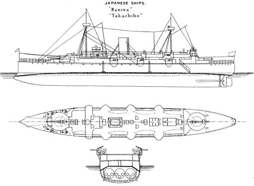 Naniwa class cruiser left elevation and deck plan Brasseys 1888