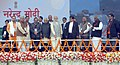 Narendra Modi laying the foundation stone for the construction of Delhi-Dasna-Meerut Expressway and Upgradation of Dasna-Hapur Section of NH-24, in Noida, Uttar Pradesh. The Governor of Uttar Pradesh.jpg