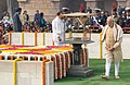 Narendra Modi performing parikrama at the Samadhi of Mahatma Gandhi on the occasion of Martyr's Day, at Rajghat, in Delhi. The Union Minister for Urban Development.jpg