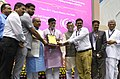 Narendra Singh Tomar along with the Minister of State for Rural Development, Shri Ram Kripal Yadav and the Minister of State for Finance, Shri Santosh Kumar Gangwar presented the awards, at the RSETI Diwas-2017 celebration.jpg