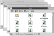 The Nautilus file manager has a spatial mode. Each of these windows displays an open folder.