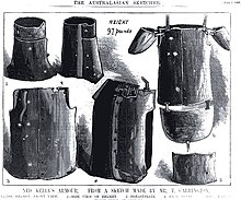 Armour of the kelly gang wikipedia an 1880 illustration showing ned kellys helmet and armour suit complete with an apron and shoulder plates maxwellsz
