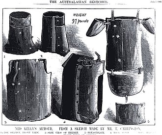 Armour of the Kelly gang - An 1880 illustration showing Ned Kelly's helmet and armour suit complete with an apron and shoulder plates