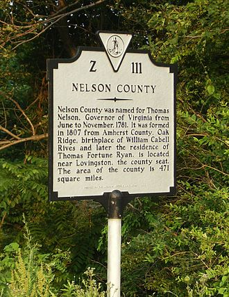 Nelson County, Virginia - Historical marker on Route 250 heading east over Afton Mountain