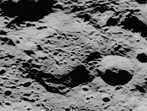 Neujmin (crater) - Oblique Apollo 17 image, facing east