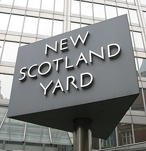 Scotland Yard - The sign outside the former New Scotland Yard building, located in Victoria, London. The sign has been relocated to the new location of New Scotland Yard.