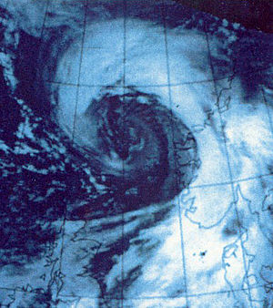 Satellite image of the New Year Hurricane that...