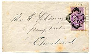 Postal fiscal stamp - A New Zealand stamp duty revenue stamp used postally in Christchurch, New Zealand, 1894.