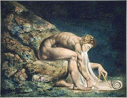 "Newton, by William Blake; here, Newton is depicted critically as a ""divine geometer"". This copy of the work is currently held by the Tate Collection. Newton-WilliamBlake.jpg"