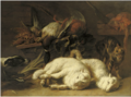 Nicasius Bernaerts - Game including a duck and a grouse on a wooden ledge with two tied up lambs, a hound and a cat nearby.PNG