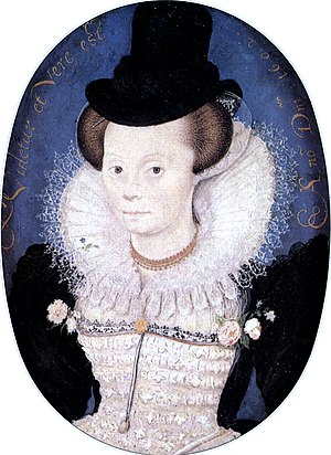 Capotain - Woman in a Capotain by Nicholas Hilliard, 1602