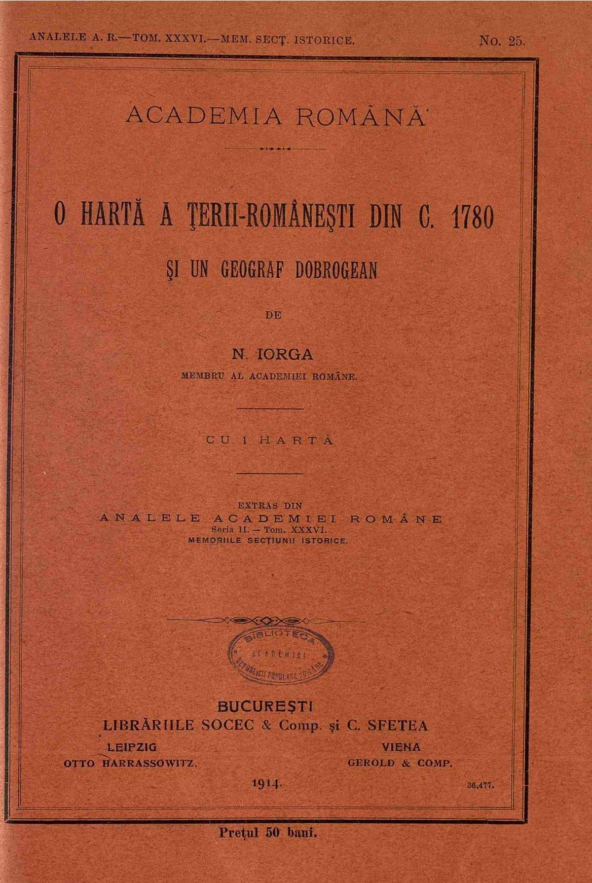 File Nicolae Iorga O Hartă ă ţerii Romanești Din C 1780 și Un