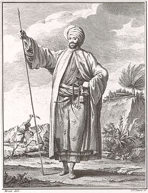 Carsten Niebuhr - Carsten Niebuhr in the attire of a distinguished Arab in Yemen, gift from al-Mahdi 'Abbas, Imam of Yemen