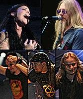 Řazeno dle hodinových ručiček: Anette Olzon, Marco Hietala, Emppu Vuorinen, Jukka Nevalainen and Tuomas Holopainen